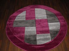 MODERN 140X140CM CIRCLE RUGS WOVEN BACK HAND CARVED BLOCKS RANGE PURPLE/GREYS